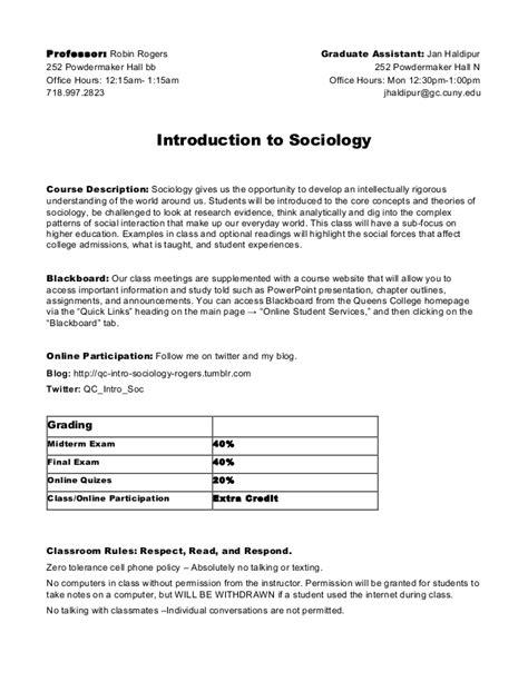 Mba Statistics Syllabus by Soc 101 Syllabus Introductionto Sociology College
