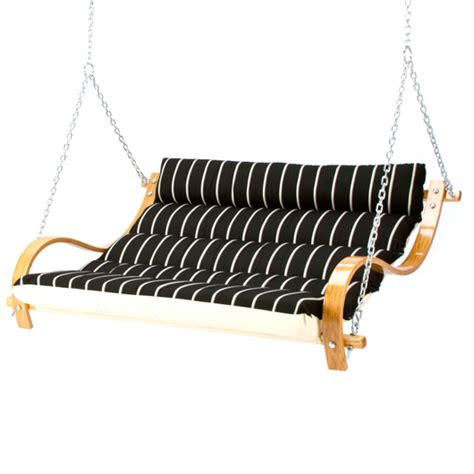 hammock double swing classic black stripe deluxe cushioned double porch swing