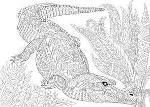 stylized cartoon crocodile alligator jungle foliage