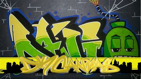 graffiti  canvas bomb graffiti character dani letters