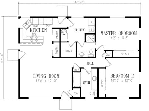 ranch style house plan 2 beds 2 00 baths 1080 sq ft plan
