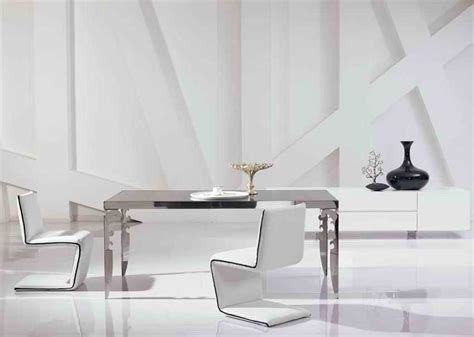 modern stainless steel dining room set glass table leather chairs chairs unique designer dining room sets furniture