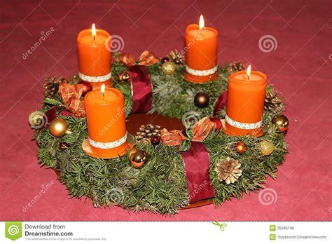 Handmade Advent Wreath - advent wreath with cinnamon candles royalty free