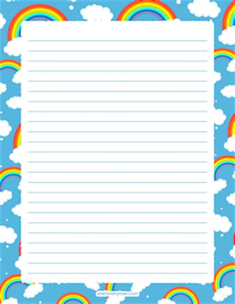 rainbow writing paper free nature stationery and writing paper