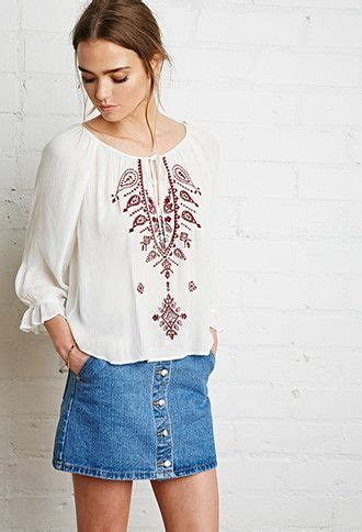 Top Casual 57 paisley embroidered peasant top forever 21