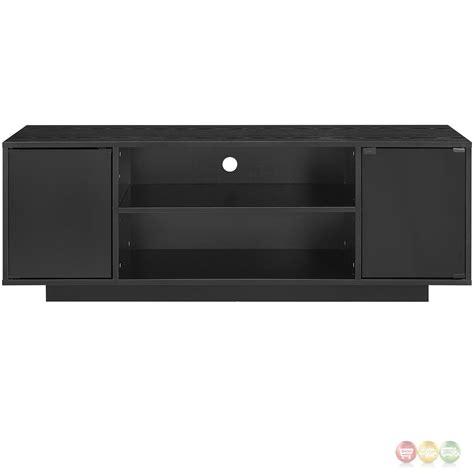 Black Tv Stands With Glass Doors Portal Contemporary 60 Quot Tv Stand With Glass Doors Shelving Black Ebay