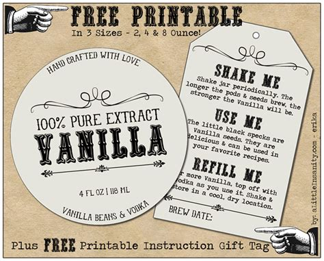 free homemade vanilla labels printable tags recipe