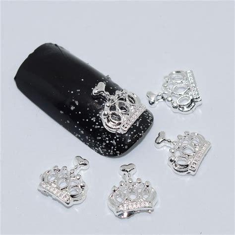 Setelan Annbebie I White Crown 10psc new white crown 3d nail decorations alloy nail