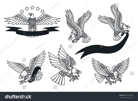 traditional eagle tattoo vector vector american eagles set traditional tattoo stock vector
