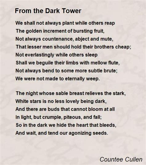 Cheap King Bed From The Dark Tower Poem By Countee Cullen Poem Hunter