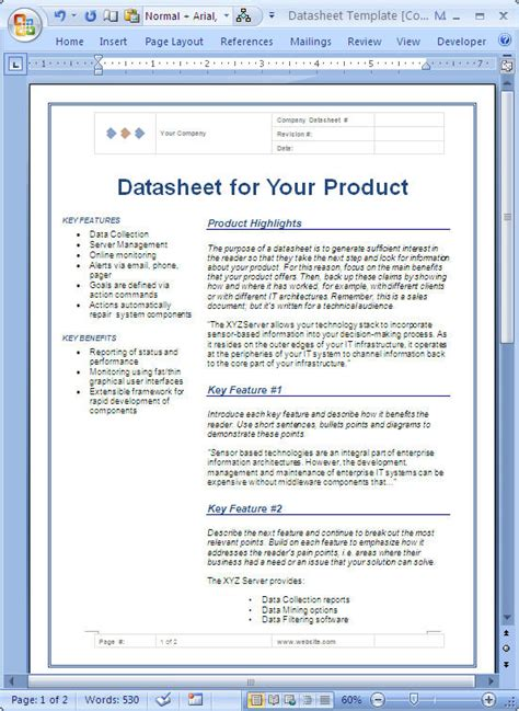 product data sheet template datasheet sle microsoft word data sheet templates
