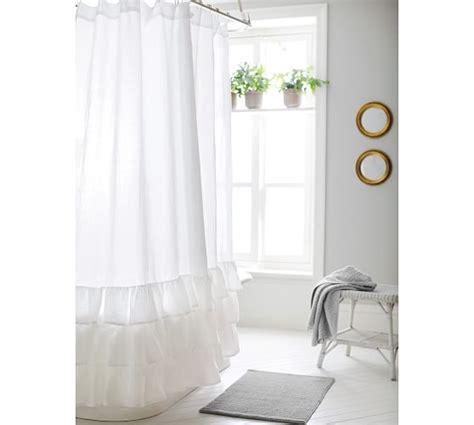 pottery barn ruffle curtains white ruffle shower curtain pottery barn curtain