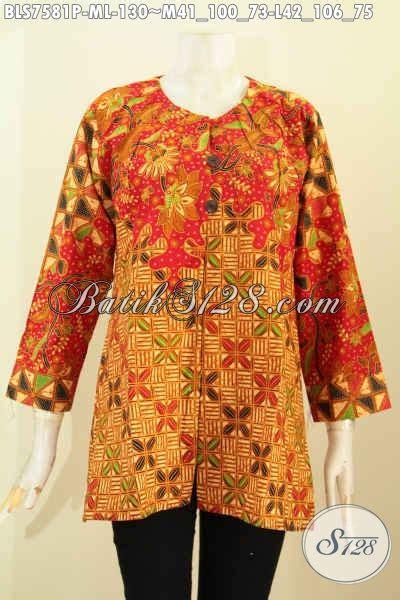 baju batik wanita etnik blus batik elegan tanpa krah