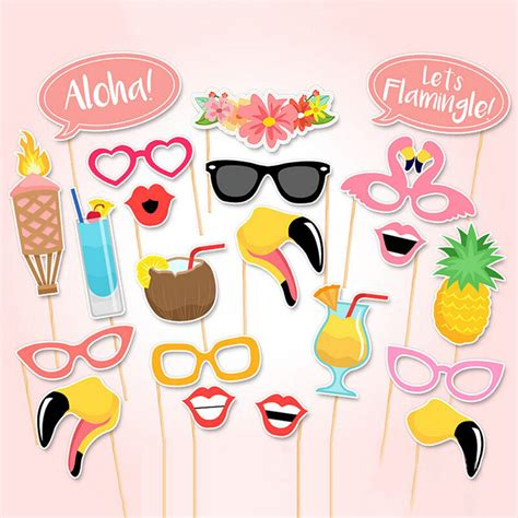 summer beach party 16 piece photo booth props printable 21 pcs flamingo tropical summer hen photo booth props