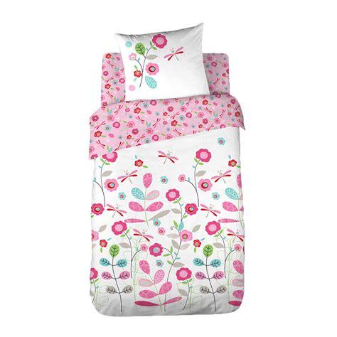 parure de lit 1 personne r 233 versible fleurs linge de lit