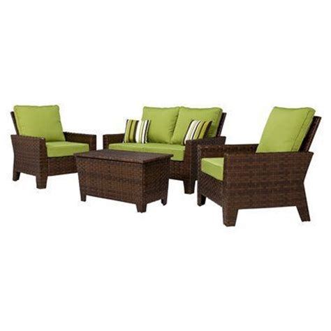Belmont 4 Piece Brown Wicker Patio Thick Woven Belmont Patio Furniture