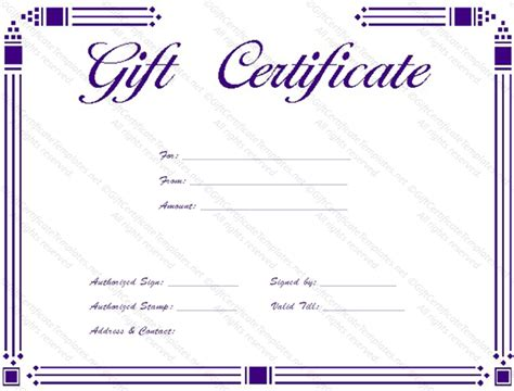 simple certificate template simple gift certificate templates