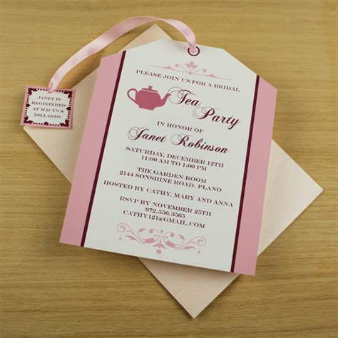 bridal shower invitations to make at home tea invitation template tea bag cutout print