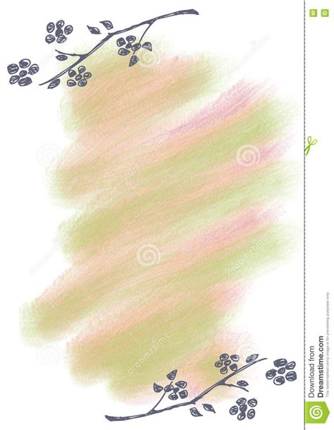 Hand Drawn Floral Background Vintage Greeting Card With Flowers And Brush Strokes Template For Letter Background Template
