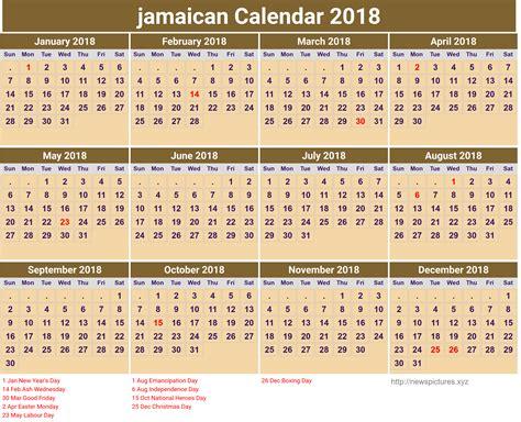 Jamaica Calend 2018 2018 Calendar Jamaica