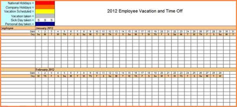 7 Sick And Vacation Spreadsheet Excel Spreadsheets Group Vacation And Sick Time Tracking Excel Template
