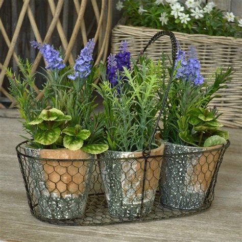 Home Decor Plants Biggie Best Metal Stand With Set Of 3 Potted Plants