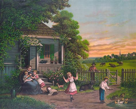 house paintings countryside family home painting free stock photo