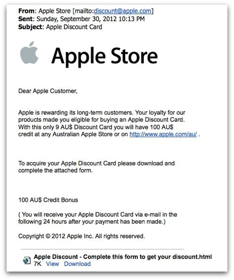 Apple Gift Card Discount - fake apple reward emails try to steal credit card details softpedia