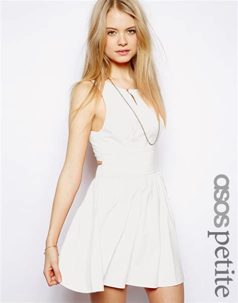 Topshops Bow Back Dress by Lyst Asos Exclusive Cotton Skater Dress With Bow Tie