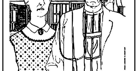awesome coloring page american gothic coloring pages
