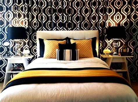 Contemporary bedroom in black white and gold decoist
