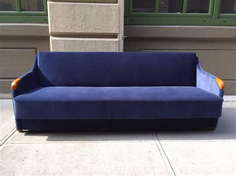 1950s blue velvet sleeper sofa for sale at 1stdibs