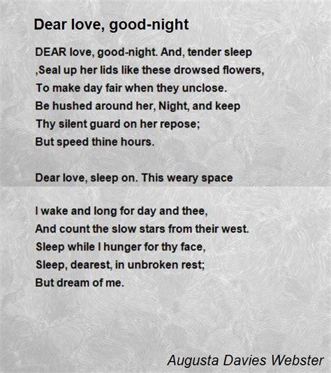 dear love good night poem  augusta davies webster poem hunter