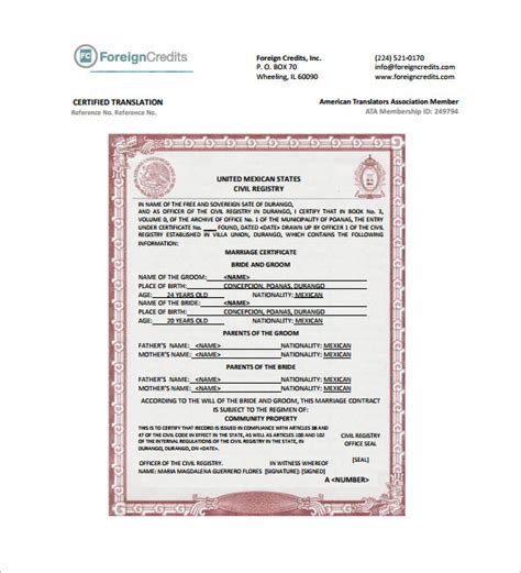 mexican birth certificate translation template mexican marriage certificate translation template pdf