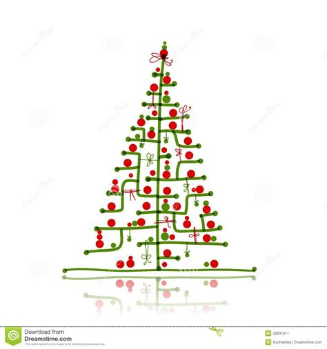 christmas tree sketch for your design stock vector image