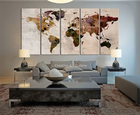 design house decor etsy world map large canvas print rustic world by extralargewallart