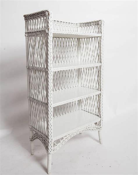 Bar Harbor Style White Wicker Shelf For Sale At 1stdibs White Wicker Bookcase