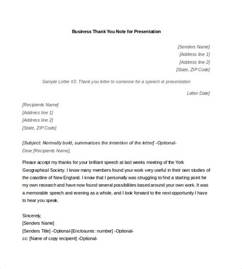 appreciation letter after presentation 7 business thank you notes free sle exle format