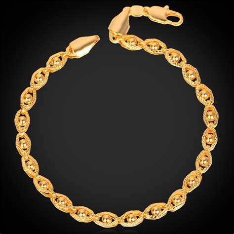 Gold Bracelets Women / Men Simple Styles Trendy New yellow Real Gold Plated 21CM Vintage Jewelry