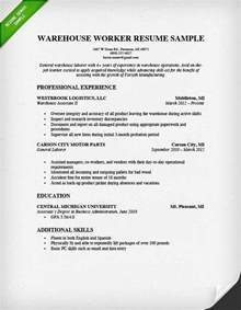 Resume Objectives For Warehouse Workers by General Warehouse Worker Resume Sle