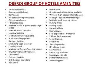 Apartment Amenities List Frankfinn Hospitality Presentation