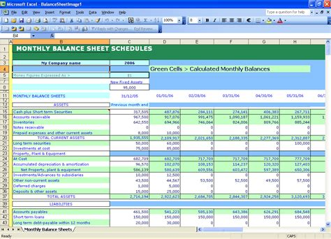 excel balance sheets calculation using ready excel templates
