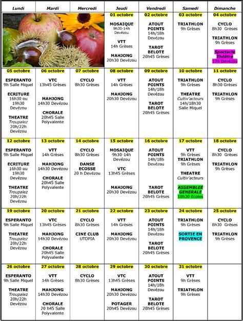 Calendrier 3 Octobre 2015 Flash Octobre 2015 Aqueduc Montferrier