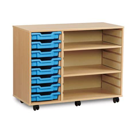 8 tray wide storage unit with 2 adjustable shelves h789mm en