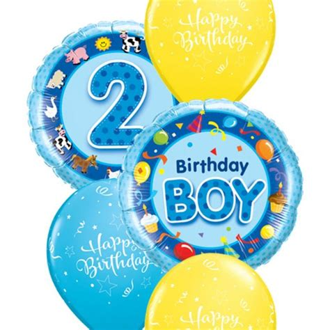 Happy Birthday Boy Wishes Two Foil Balloons In Shades Of Blue Send Your Message