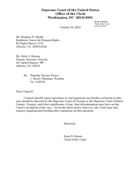 Explanation Letter To Judge Foster V Chatman Peremptory Challenges In Scotus