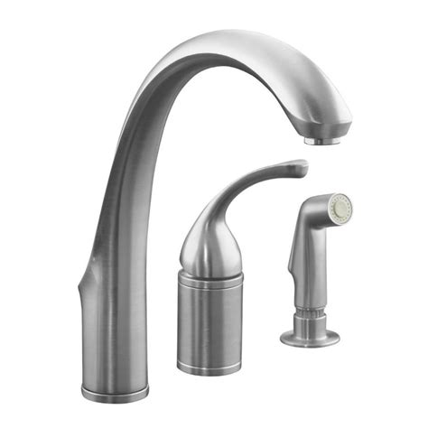 Kitchen Faucet With Side Spray Shop Kohler Forte Brushed Chrome 1 Handle High Arc Kitchen Faucet With Side Spray At Lowes