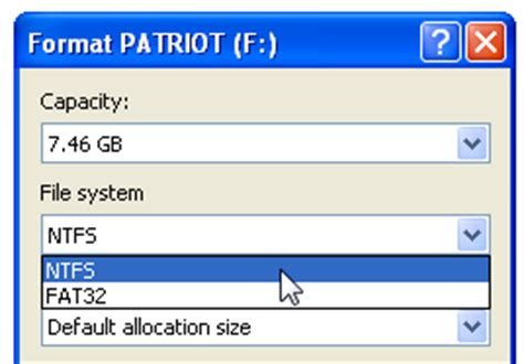 format fat32 ntfs windows 7 format a usb drive as ntfs in windows xp