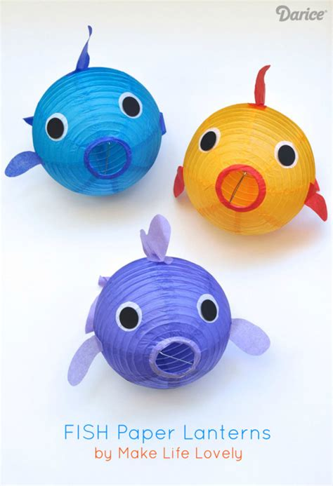 How To Make Your Own Paper Lanterns - fish craft decor make your own paper lantern fish