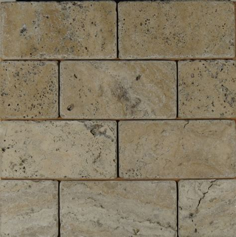 travertine latte tumbled 3x6 subway tile